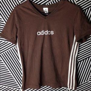 Vintage Adidas Stitched logo striped v Neck shirt